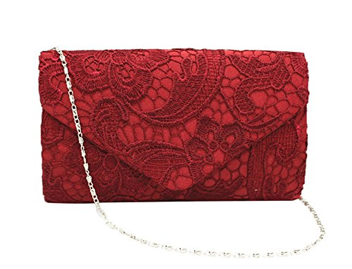 Dressy Evening Cocktail DNFC Elegant Clutch Strap Ladies with Red Wedding Handbag Bag Women Bag Envelope Shoulder Clutches Clutch Wine Bag Purse Lace Prom Bag rII6anq