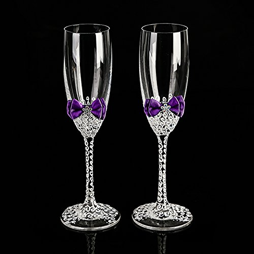 tie champagne wedding glasses handmade LACE white bride and groom flutes,His and Hers Flute - Wedding Gift -