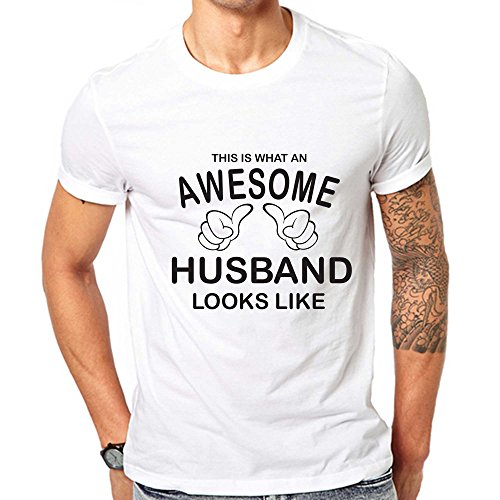 GullPrint Men's This Is What An Awesome Husband Looks Like T Shirt Large White (Best Ringtones For Wife Calling)