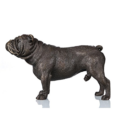Toperkin Bronze Statues Animal Sculptures French Bulldog Desk Decor Gift Figurine (Bronze Dog Statues)