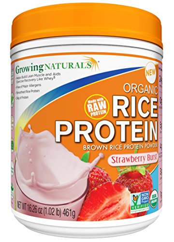 (Growing Naturals Organic Rice Protein Powder, Strawberry Burst, 16.26 Ounce)
