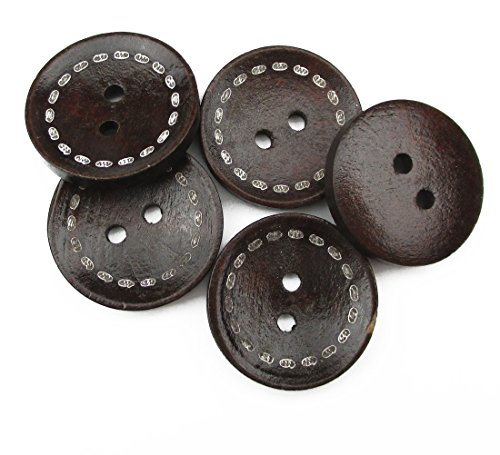 ALL in ONE 50pcs Dark Brown 2 Holes Round Wood Sewing Buttons with Dashed Line 23mm(7/8)