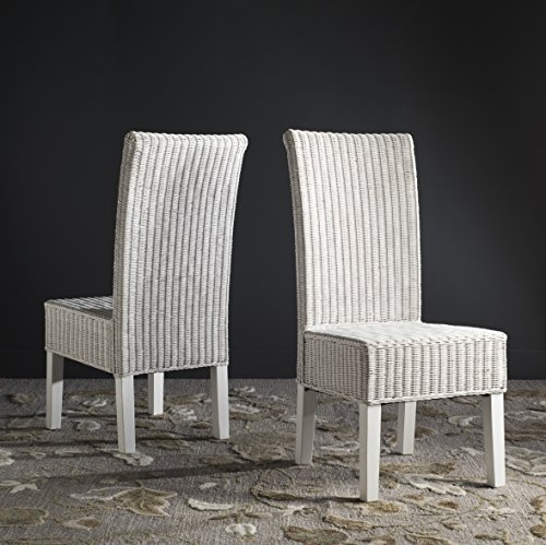 Safavieh Home Collection Arjun Wicker Dining Chair, White -  SEA8013E-SET2