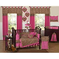 Cheetah Animal print Pink and Brown Baby Girl Bedding 9pc Crib Set