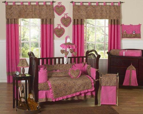 Cheetah Animal print Pink and Brown Baby Girl Bedding 9pc Crib Set, Baby & Kids Zone