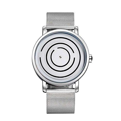 SINOBI Whirl Maze Dial Unique Design Unisex Watch Mesh Band Silver