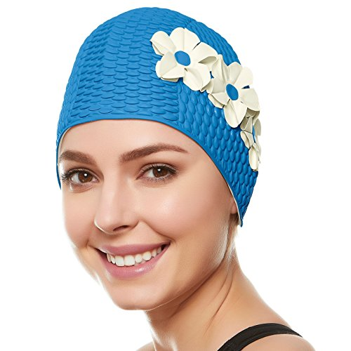 Beemo Swim Bathing Caps for Women & Girls - Light Blue with White Flowers -