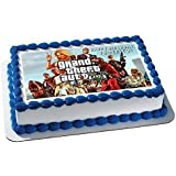 Grand Theft Auto Edible Birthday Cake OR Cupcake Topper