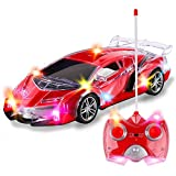 Light Up RC Remote Control Racing Car | 1:24 Scale Radio Control Sports Car with Flashing LED Lights | Ideal Gift Toy for Kids