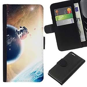 A-type (Planeta & Rock Cinturón) Colorida Impresión Funda Cuero Monedero Caja Bolsa Cubierta Caja Piel Card Slots Para Apple iPhone 5C