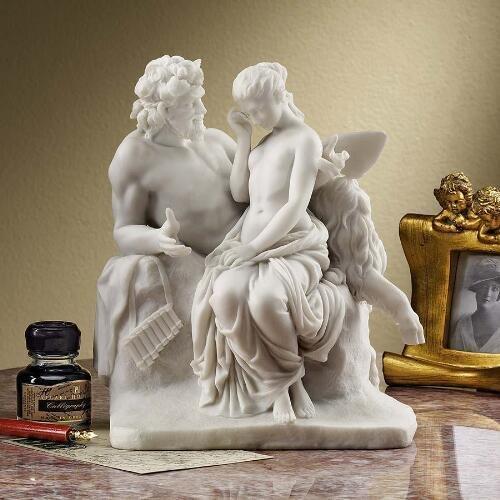 Pan Comforts Psyche Statue Design Classic Roman Greek