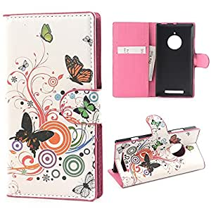Yakamoz PU Leather Round Flower Butterfly Flip Wallet Card Slots Stand Case Cover for Nokia Lumia 830 with Free Screen Protector & Stylus Pen