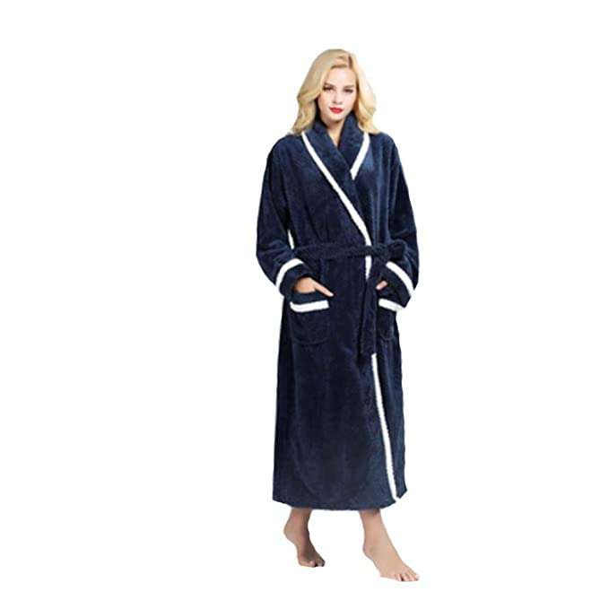 ... Elegantes Moda Classic Espesar Otoño Invierno Camisones Mode De Marca Largos Pijamas Mujer Color Sólido Manga Larga con Bolsillos Cinturón Batas Pijama: ...