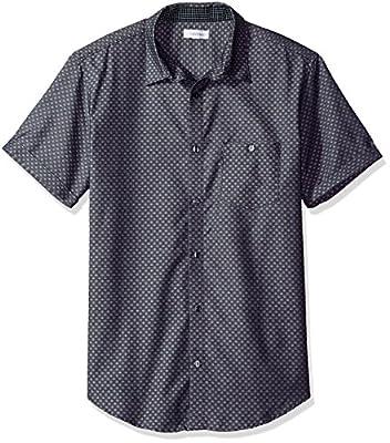 Calvin Klein Men's Short Sleeve Honeycomb Dobby Dot Button Down Shirt