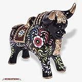 "Handpainted Black Pucara Bull 8.5""/7.8"" Tall in ceramic, Peruvian Sculpture, pottery sculpture from Peru, Folk art ceramics handmade, Bull figurine"