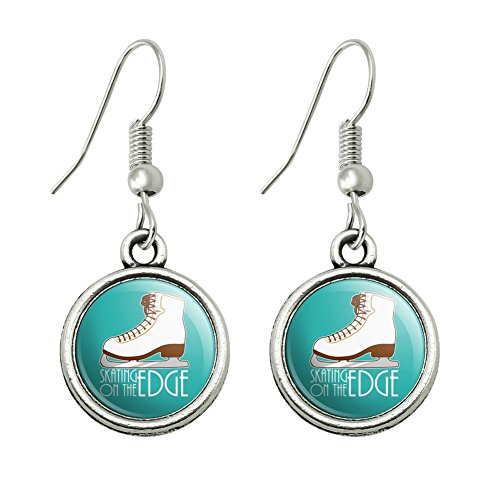 Graphics and More Ice Skates Figure Skating Living On The Edge Novelty Dangling Drop Charm Earrings -