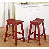 TMS 24 in. Belfast Saddle Counter Stool - Set of 2
