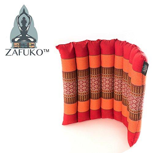 Zafuko Yoga, Meditation, Kundalini and Pilates Flat & Rollable Cushion (Zafu) for on-The-go Support, Floor Pillow, Adustable Prop - 100% Organic Kapok Fiber Filling - 17
