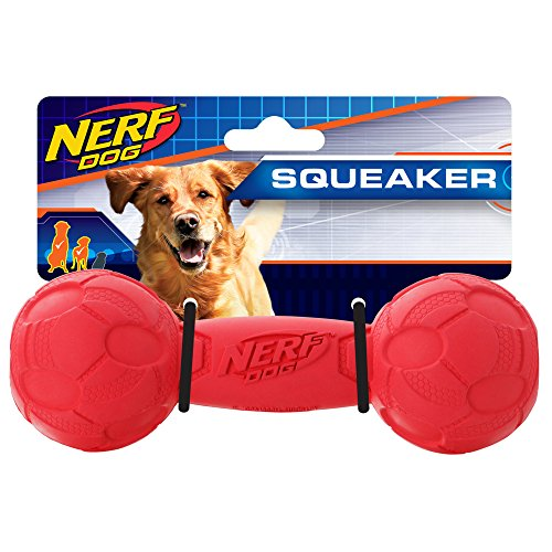 Nerf Dog 7in Bash Squeak Barbell - Red, Dog Toy