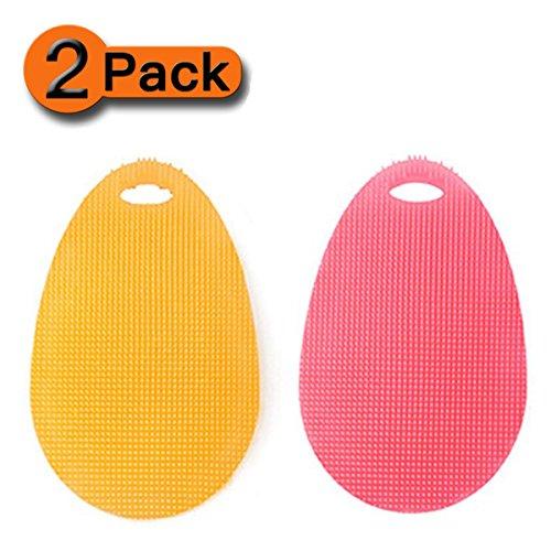 [2-Pack] Jasinber Limpiador de platos de silicona Lavavajillas Cepillo de limpieza para cocina Olla de lavado Plato de pan...