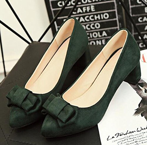 Easemax Shoes Top Mid Bows Faux Heel Pumps Womens Pointed Chunky Toe Elegant Suede Green Low rwxrqFa