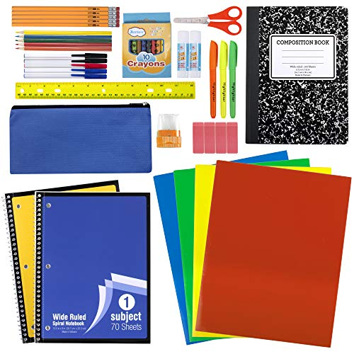 45 Piece School Supply Kit Grades K-12 - School Essentials Includes Folders Notebooks Pencils Pens and Much More! -