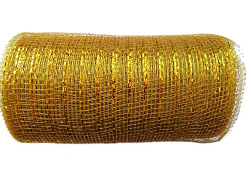 6 inch x 30 feet(10 Yards)-YYCRAFT Metallic Deco Poly Mesh Ribbon(Tan/Gold)