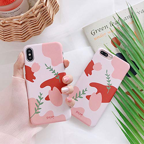 - BONTOUJOUR iPhone X Case, Matte Surface Artistic Willow Pink Flower Drawing Patterned Hard PC Back Cover Case, Grid Case Shock Absorption Ultra Slim -Pink