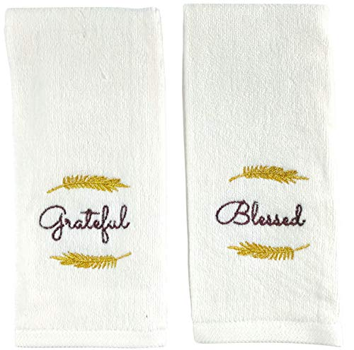 Decorative Fall Thanksgiving Fingertip Towels: Embroidered Grateful and Blessed on Plush Ivory White, 2 Piece Set, 11″ x 18″ Inch Each (Thankful)
