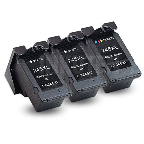INKUTEN Remanufactured Ink Cartridge Replacement For PG-245XL 245 XL & CL-246XL 246 XL, 3 Pack (2 Black, 1 Color) - With Ink Level Display (Canon Black Ink Refill)