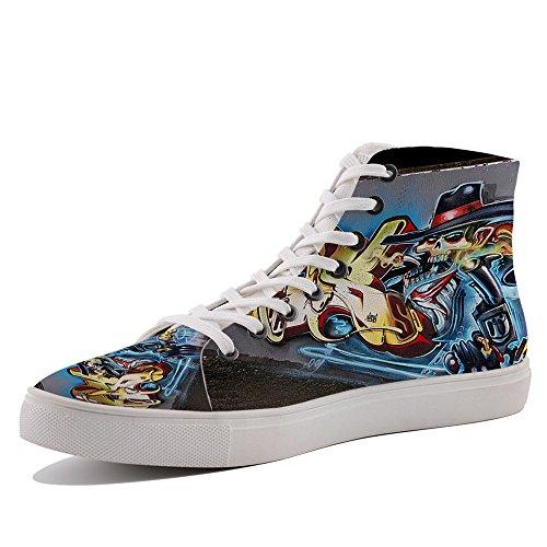 HIGHFIELD Unisex High Top Sneakers Kuru Gunmen Graffiti Canvas Shoes G111320
