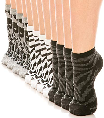ShyCloset Colorful Low Cut Socks - 12 Pairs No Show Fashion Pattern Comfort Spandex Socks (WILD)]()