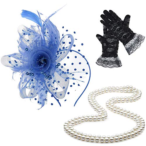 ZeroShop Fascinators Hats for Womens,Cocktail Party Hat,Tea Party Dress Headband,w/Pearl Necklace & Lace Gloves,Blue