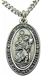 Saint Christopher Pewter Travel Medal Pendant 1 Inch on 24 Inch Stainless Steel Chain Gift