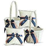 Roman Store Ivory Ring Bearer Pillow and Basket Set | Lace Collection | Flower Girl & Welcome Basket for Guest | Handmade Wedding Baskets & Pillows (Navy Rose Gold)