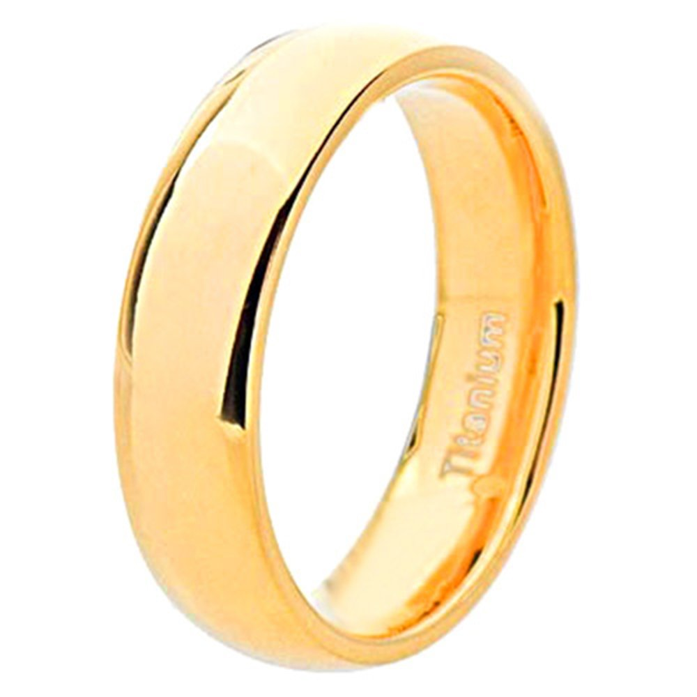 FlameReflection 8mm Mens Titanium Ring Wedding Band Gold Plated High Polish Comfort Fit Size 8-13 SPJ