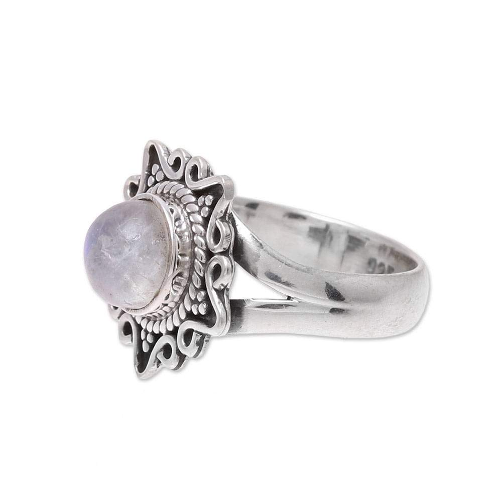 NOVICA Rainbow Moonstone .925 Sterling Silver Ring Shine Through the Mist