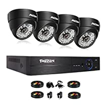 TMEZON 8 Channel 1080P AHD Home Security Cameras System W/ 4x HD Waterproof Night vision Indoor/Outdoor CCTV surveillance Camera, Quick Remote Access Setup Free App, NO HDD