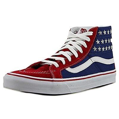 Vans Womens SK8 Hi Slim Studded Stars Red Blue Textile Trainers 8.5 US