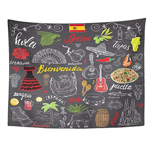 Emvency Tapestry Polyester Fabric Print Home Decor Spain Doodles with Spanish Lettering Food Paella Shrimp Olive Grape Fan Wine Wall Hanging Tapestry for Living Room Bedroom Dorm 60x80 Inches