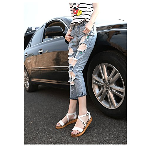 Femme Sandales Plates Lanieres Decoupees Mode Plateforme Poiture Grande Boucle Blanc 39