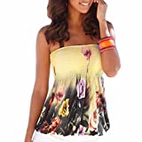 Lady Women Sexy Strapless Tube-Tops Floral Print Yellow Tank Tops Blouses