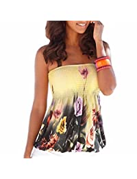 Qiyun Lady Women Sexy Strapless Tube-Tops Floral Print Yellow Tank Tops Blouses