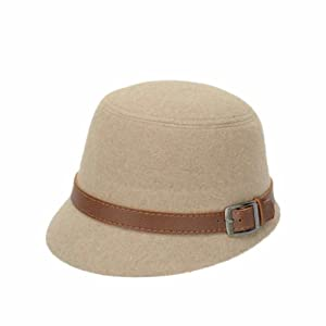 d170f871 Fulltime(TM) Women Elegant Beach Belt Buckle Felt Bowler Fedora Hat Bowler  Caps