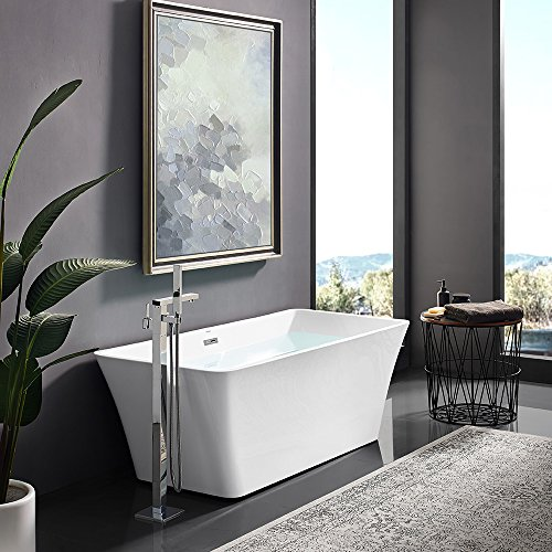 Swiss Madison SM-FB579 St Tropez 67 in. Acrylic Flatbottom Non-Whirlpool Rectangular Freestanding Soaking Bathtub in White