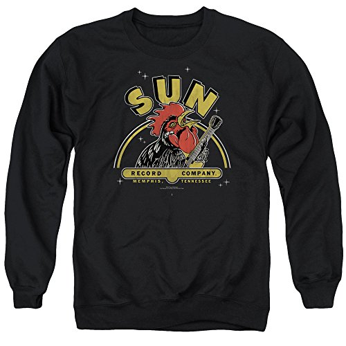 Sun Rocking Rooster Unisex Adult Crewneck Sweatshirt for Men and Women, Large Black -