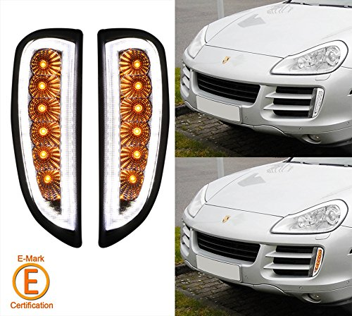 LED Daytime Running Light & Turn Signal Lamp for 2007-2010 Porsche Cayenne 957 All models- Clear