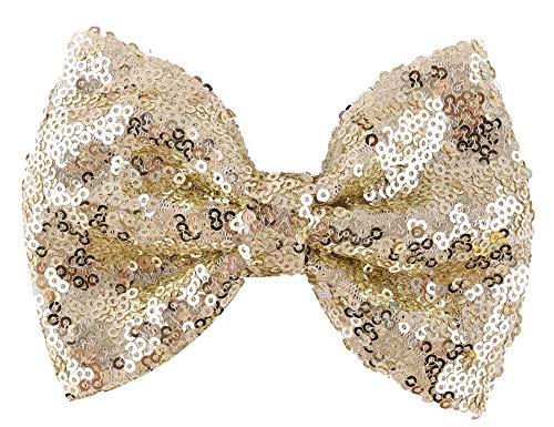 Love Fairy Fashion Bow Hairpin Sequins Hair Clip Multicolor 0ptional for Baby Girls Toddler Kids and Women (Light - Small Gold Bow