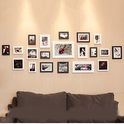 Photo frame wall 20 box European black and white photo wall creative combination of living room European and American photo frame wall Photo Wall ( Color : Black and white ) by Photo Frame Set