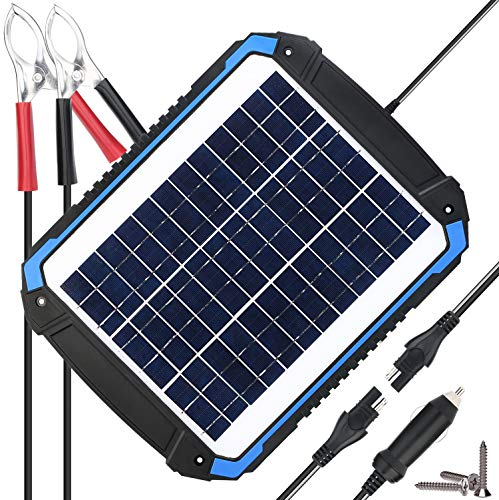SUNER POWER 12V Solar Car Battery Charger & Maintainer - Portable 12W Solar Panel Trickle Charging Kit for Automotive, Motorcycle, Boat, Marine, RV, Trailer, Powersports, Snowmobile, etc (Best Solar Battery Charger)